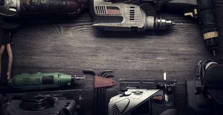 Electric hand tools (screwdriver Drill Saw jigsaw jointer) photo processing: instagram Stockfoto