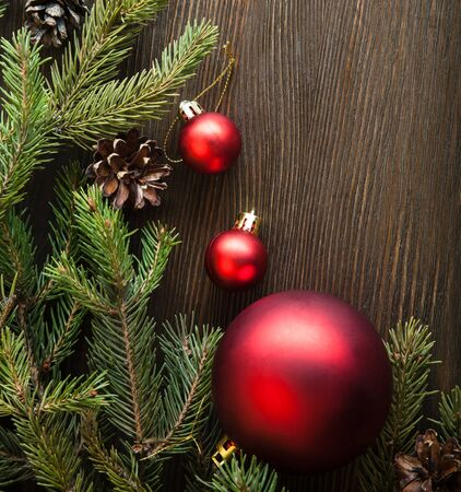 christmas bow: Christmas Tree and decorations on wooden background space for lettering
