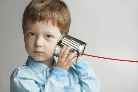 tin can telephone: beauty boy listen tin can telephone