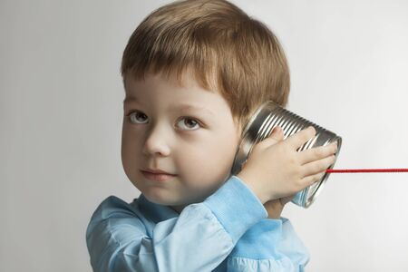 toy phone: beauty boy listen tin can telephone