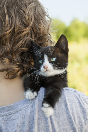cute kitten: kitten on the shoulder of the boy outdoors