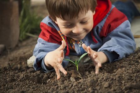 medio ambiente: niños felices con el brote en las manos