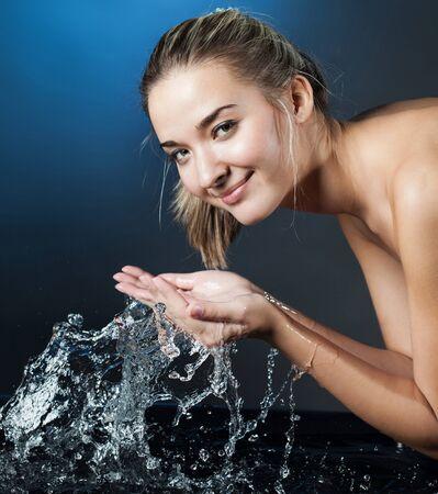 beauty girl wash face
