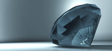 large group of objects: 3D rendering shining crystal diamond on a blue background
