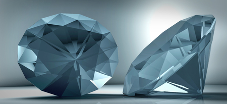 large group of object: 3D rendering shining crystal diamond on a blue background