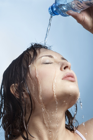 thirst: beauty woman with water bottle