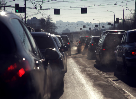 cold season: Traffic jam in the cold season Stock Photo