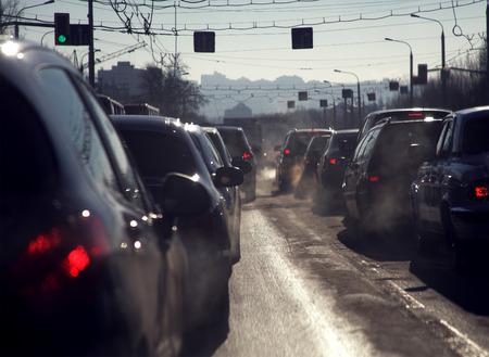 slow lane: Traffic jam in the cold season Stock Photo