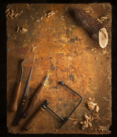 manual measuring instrument: Hand tools Wood (Drill Jig Saw plane chisel) on an old wooden workbench