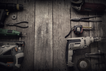 wood cutter: Electric hand tools (screwdriver Drill Saw jigsaw jointer) top view Stock Photo