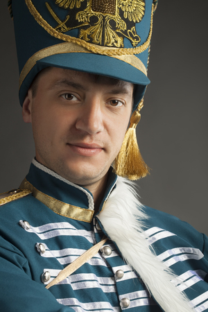 hussar: russian hussar on gray background Stock Photo