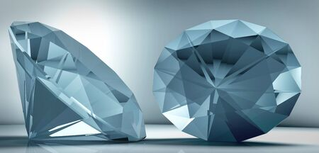 abundance: 3D rendering shining crystal diamond on a blue background