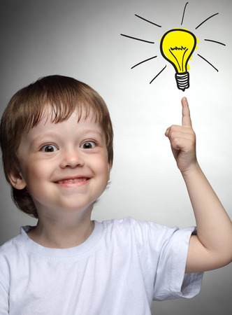 Prodigy: Children idea with draft lamp, boy came up with the idea Zdjęcie Seryjne