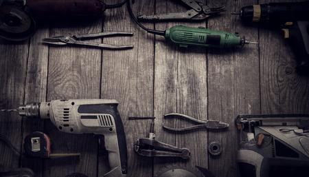 Elektrisches Handwerkzeug (Schraubendreher Drill Saw Puzzle jointer) Draufsicht Standard-Bild