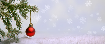 tree decorations: Christmas Tree and decorations on illuminations background space for lettering Stock Photo