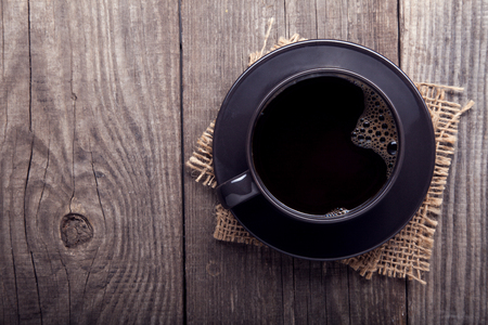 morning breakfast: cup of espresso coffee on old wooden table vintage Stock Photo