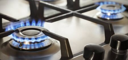gas stove: kitchen gas cooker with burning fire propane gas