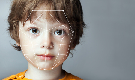 Biometrische Verificatie - Boy Face Detection, high-tech Stockfoto