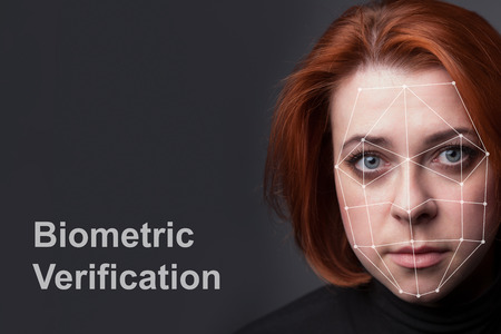 Biometric Verification - Woman Face Detection, high technology photo