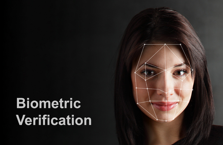 Biometrische Verificatie - Vrouw Face Detection, high-tech Stockfoto