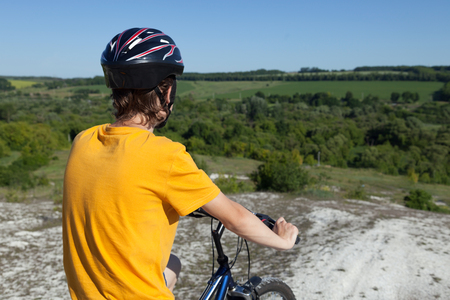Mountain bike.Sport and healthy life.Extreme sports.Mountain bicycle and man.Life style outdoor extreme sport Stock Photo