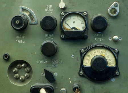 old industrial electronics gauge instruments. Archivio Fotografico
