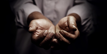 Working hands of old man.