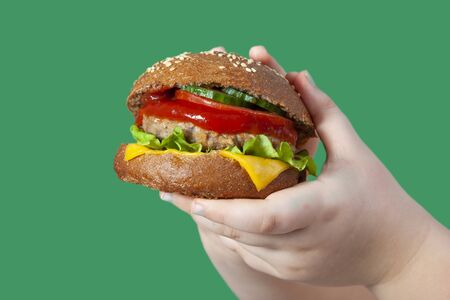 Vegan burger on green background. Male child with hamburger.