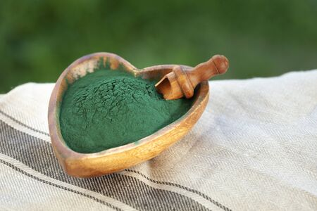 Organic spirulina algae powder in a wooden spoon on green grass background. Stock Photo