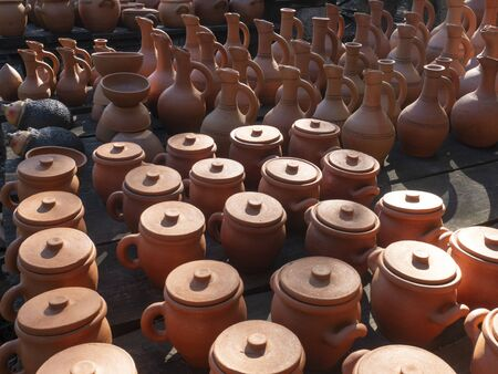 Many earthenware jugs for wine and food. Georgia Stock Photo