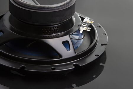 three-way speaker system, coaxial speaker, car audio music, subwoofer. Top view