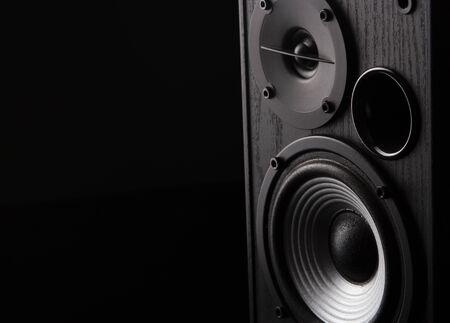 Acoustic sound speakers on black background. Multimedia, audio and sound concept. copy space. Foto de archivo