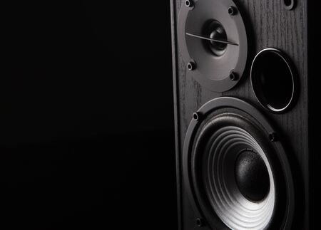 Acoustic sound speakers on black background. Multimedia, audio and sound concept. copy space. Stock fotó