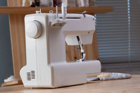 Close-Up Of Sewing Machine at home interior 写真素材