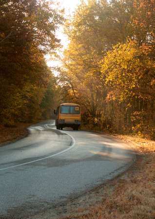 Road with school bus in beautiful autumn forest at sunset.