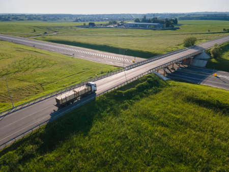 tipper truck on street road highway transportation aerial view