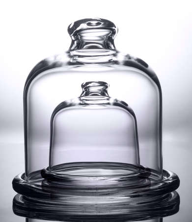 Double Glass bell jar isolated on white, maximum protection mockup concept Standard-Bild