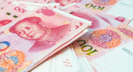 Chinese yuan banknotes, China's currency. Banque d'images