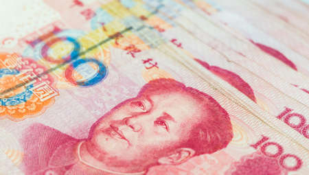 Closeup Chinese yuan banknotes, China's currency. 版權商用圖片 - 84000845