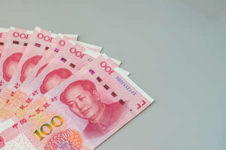 Chinese yuan banknotes, Chinas currency. 版權商用圖片