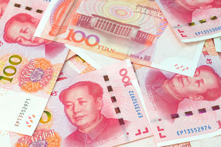 Chinese yuan banknotes, China's currency. 版權商用圖片