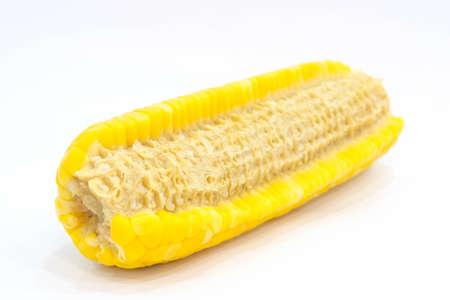 Half eaten corn isolated on white background.