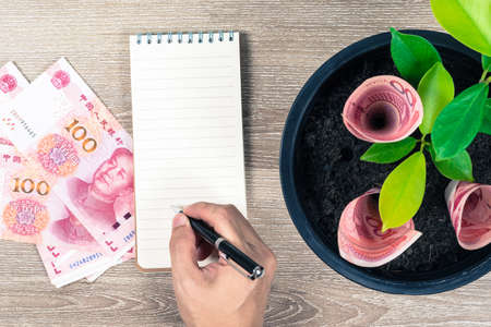 One hundred Chinese yuan bills and money tree growth up in black flower pot placed on wooden table with hand writing on notepad in concept of financial planning, saving money, interest and investment.
