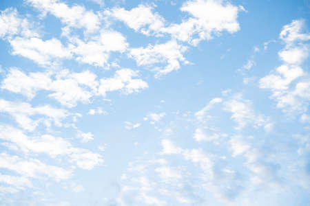 Summer blue sky and white clouds in sunny day for nature background. Soft and fluffy in sky in bright day. Banque d'images
