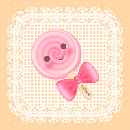 cute sweet candy with orange background and lace Иллюстрация