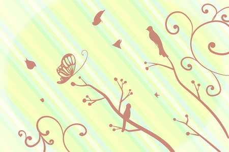 pastel green birds and brunches background
