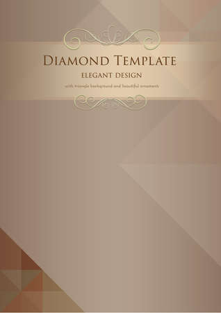 bronze diamond triangle abstract template with elegant ornaments
