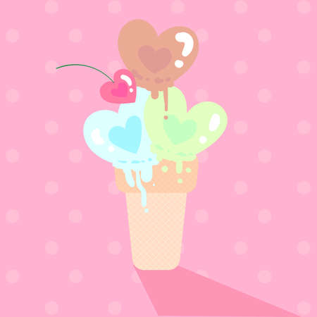heart shape melt icecream and heart shape cherry in cone with polkadot pink background
