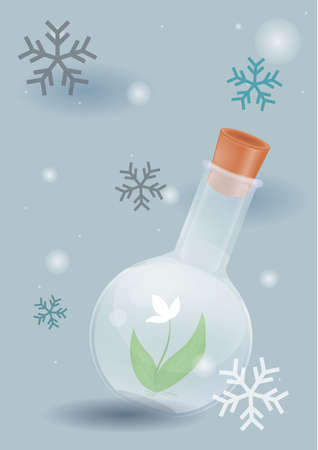 science transparent flask contain plant in snow land among snow flakes