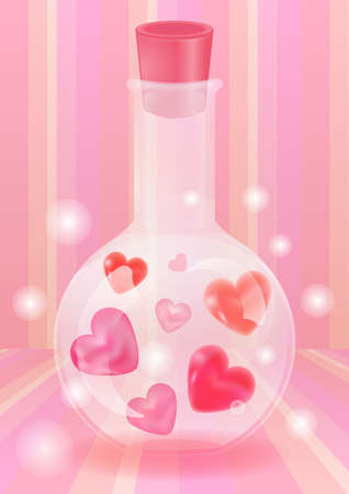 transparent glass bottle with heart-shaped pearl jewel and glowing spark in pink strip background